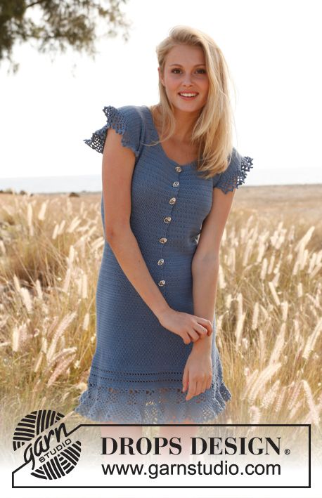 """69706bd277 Crochet DROPS dress with buttons at the front and flounce in """"Safran"""". Size  S-XXXL ~ DROPS Design"""