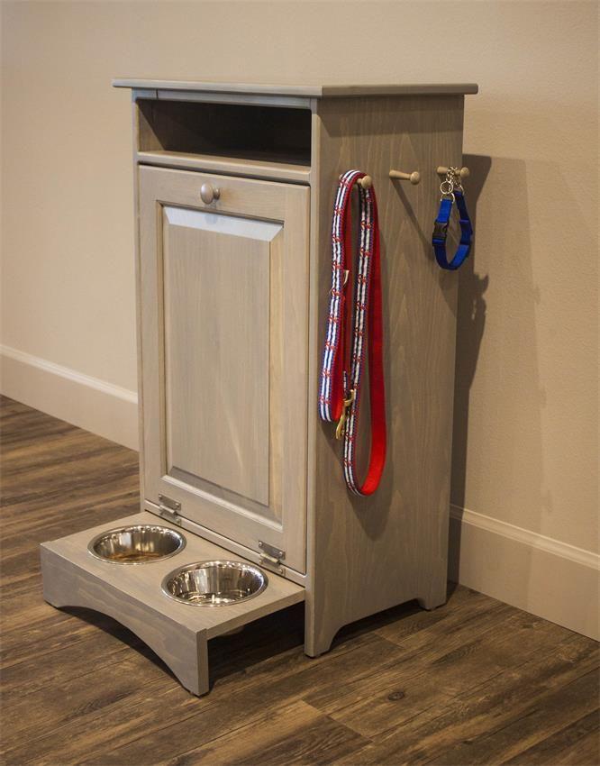 Amish Solid Pine Pet Feeder Station Dog Furniture Dog