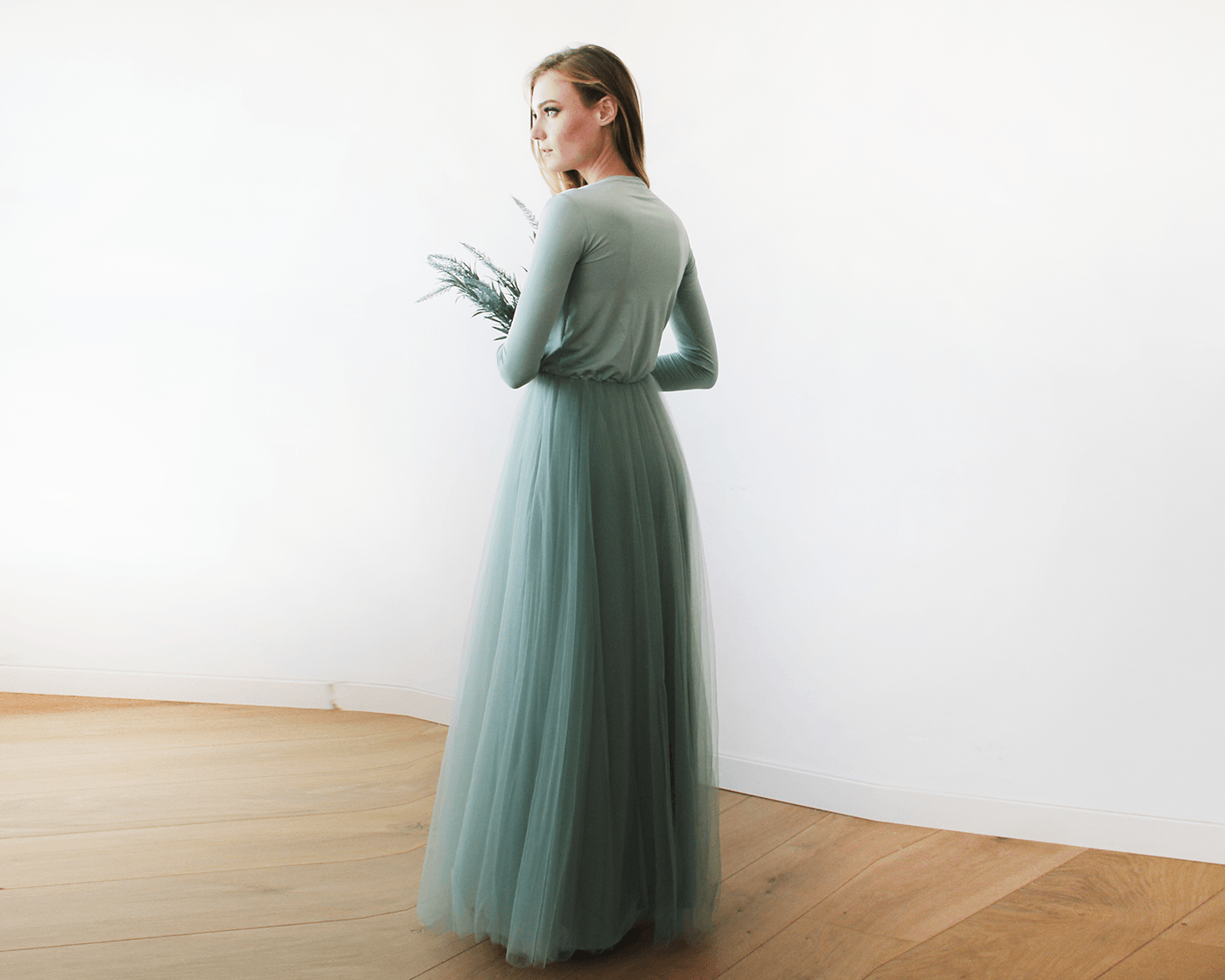 I Love This Cute Sage Green Maxi Tulle Dress With Long Sleeves 1066 Bridesmaid Dresses With Sleeves Dresses Tulle Dress