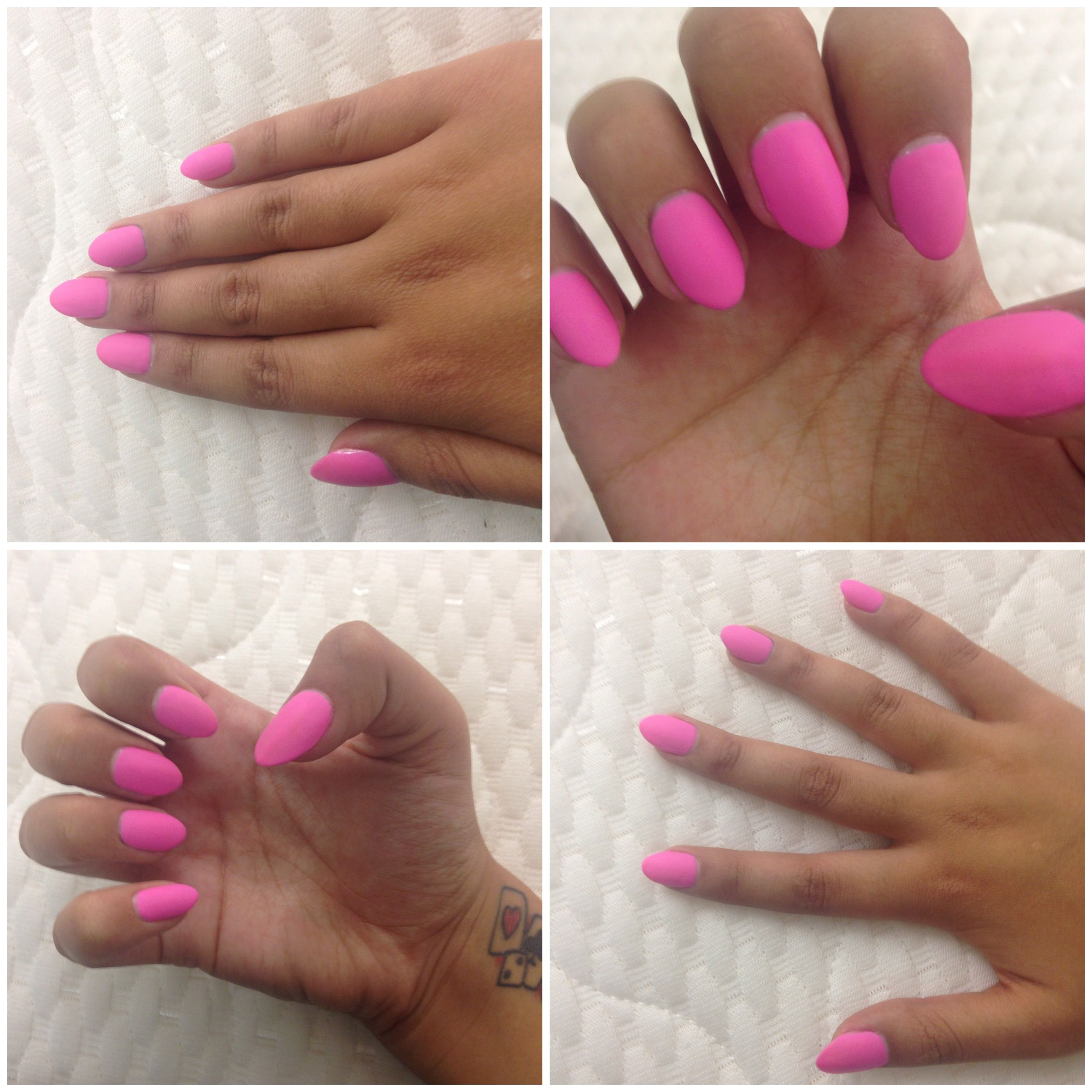 Pink Shellac with Matte top coat on \'Kiss\' Stick on oval nails ...