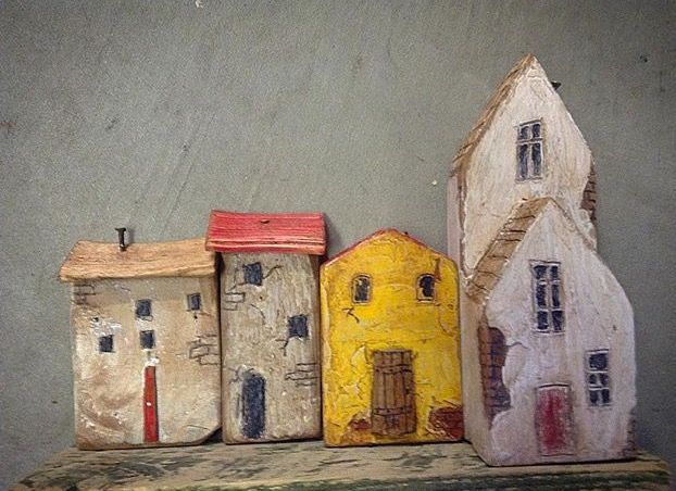 Wooden miniature houses old world look