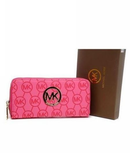 Michael Kors Wallet Zip Continental Leather Rose Pink