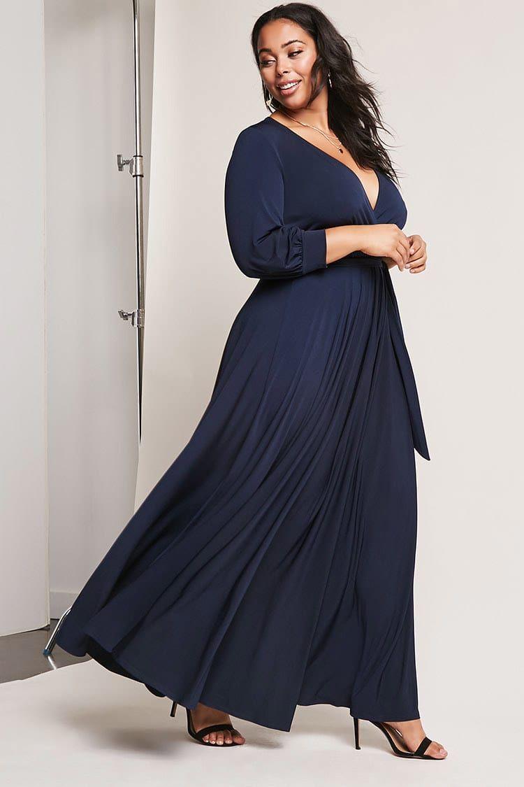 Plus Size Surplice Maxi Dress Maxi Dress Curvy Girl Fashion Plus Size Maxi Dresses [ 1125 x 750 Pixel ]