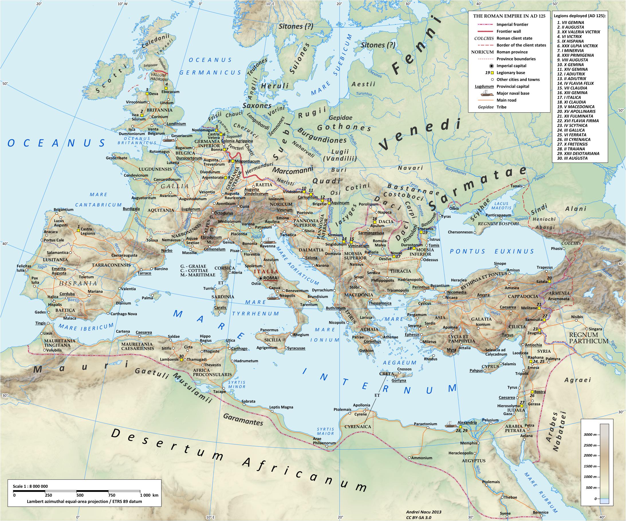 Map of the Roman empire in 125 AD under emperor Hadrian  maps