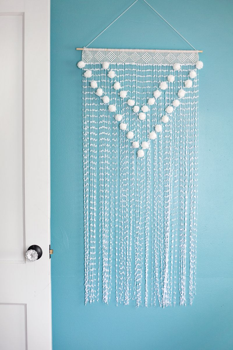 Wall Art Hangers Pom Pom Wall Hanging A Beautiful Mess  Walls Wall Hangings And