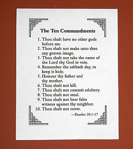 picture about 10 Commandments Printable known as Printable Record of 10 Commandments  under downloads 10