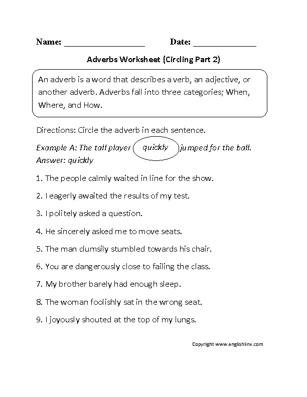 Circling Adverbs Worksheet Part 2 Adverbs Worksheet Adverbs Language Worksheets
