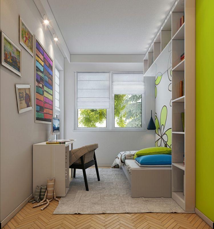 Jugendzimmer Schrank Haus Ideen: Jugendzimmer-gestalten-klein-raum-gruen-blumen-wand