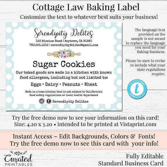 Cottage Law Label Bakers Label Cookie Product Label DIY Business - product label sample