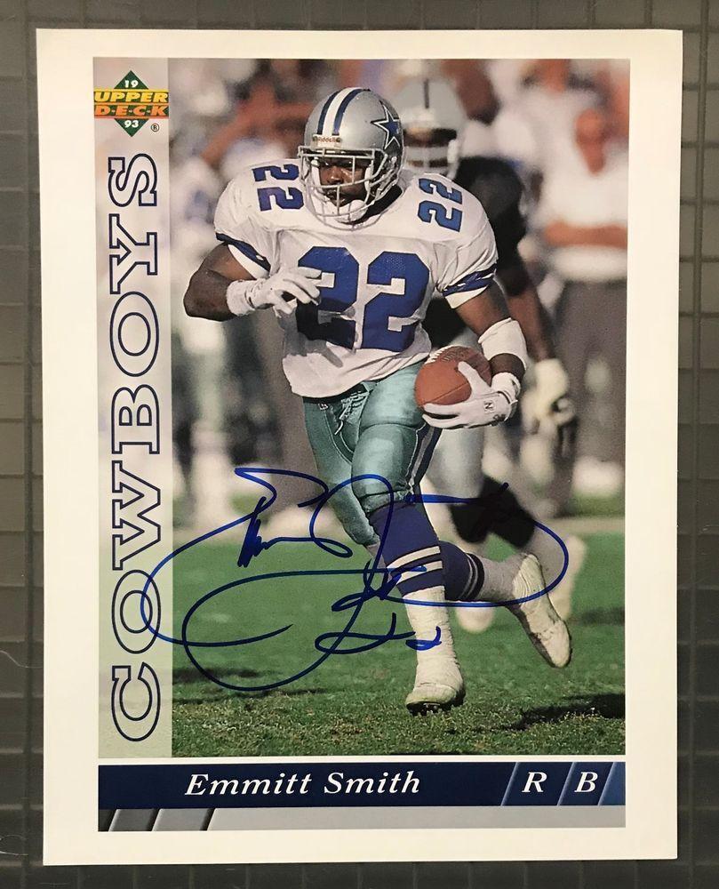 c9e836634 Emmitt Smith Signed 1993 UD Upper Deck 8x10 Photo Autographed w  COA Cowboys  HOF  Football