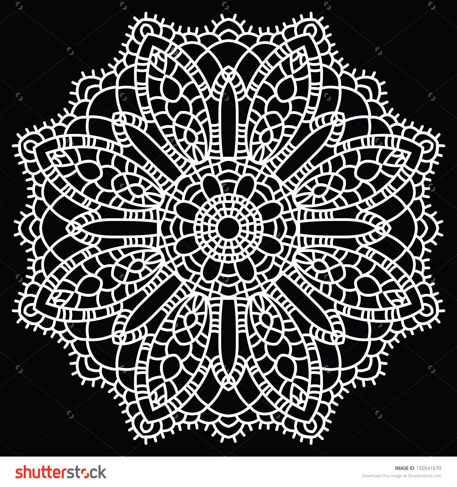 Doily round lace pattern. Vintage handmade knitted doily. Round lace ...