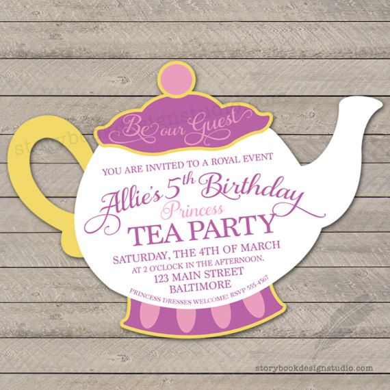 Please read all the information below this invitation can be princess tea party birthday party invitation teapot beauty beast digital file or printed and shipped solutioingenieria Image collections