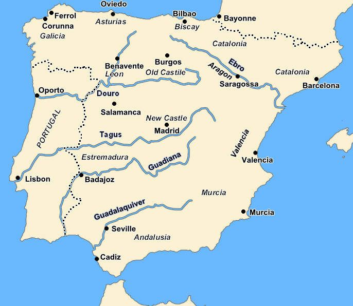 Map Of Spain Rivers.Map Spain Rivers With Cities Map Spain Battle