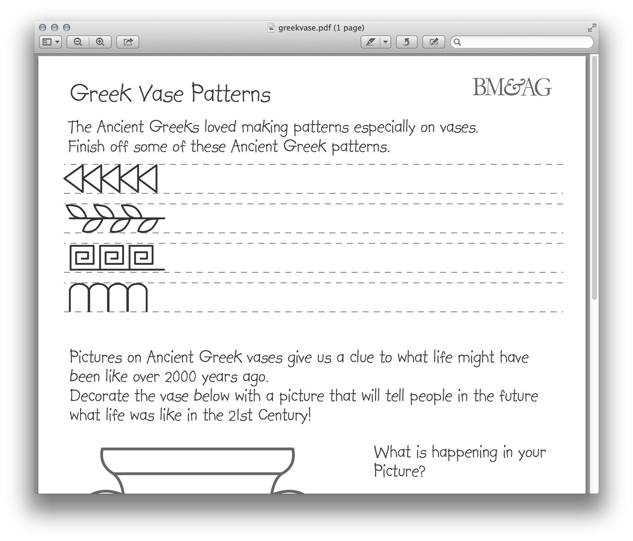 Greek Pottery And Patterns Worksheet Ancient Greece Art Ancient Greece Art Projects Greek Crafts