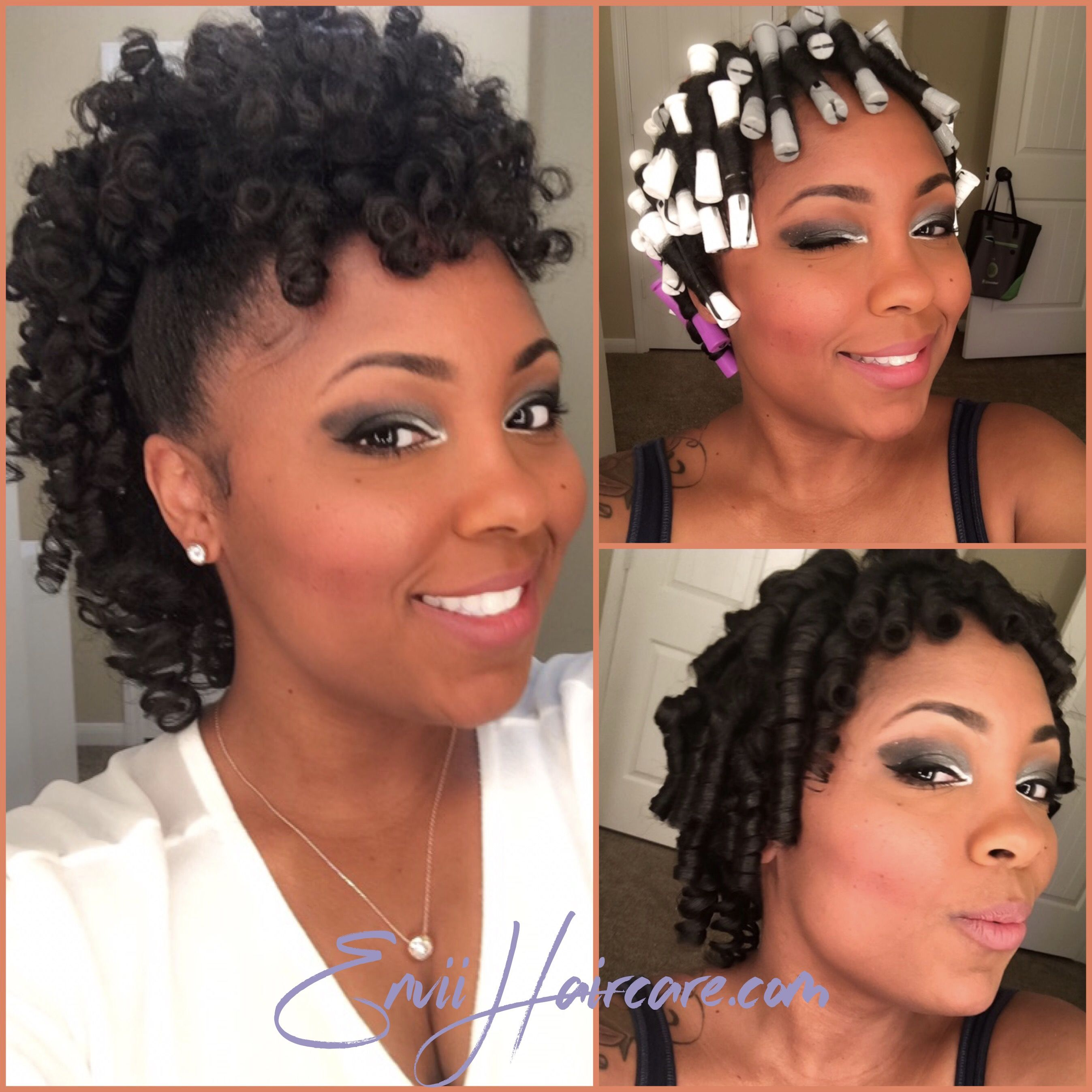 Perm Rod Set Achieved With Envii S Style Shine Foaming Mousse Curlyha Black Hair Updo Hairstyles Natural Hair Styles For Black Women Natural Hair Styles