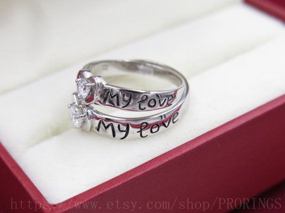 2pcs Free Engraving Rings Heart Shaped Promise Rings by PRORINGS