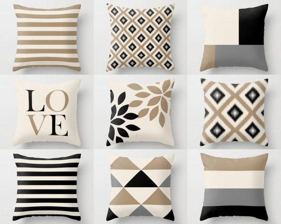 Neutral throw pillow covers taupe beige black grey neutral pillow covers n - Boutis beige et taupe ...