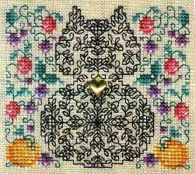 An interesting combination to blackwork and cross-stitch