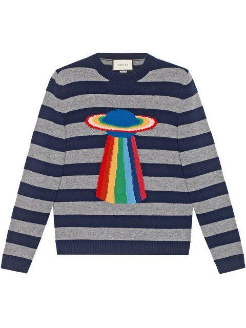 a465cdf2e1c3 Gucci Planet Intarsia Striped Sweater - Farfetch