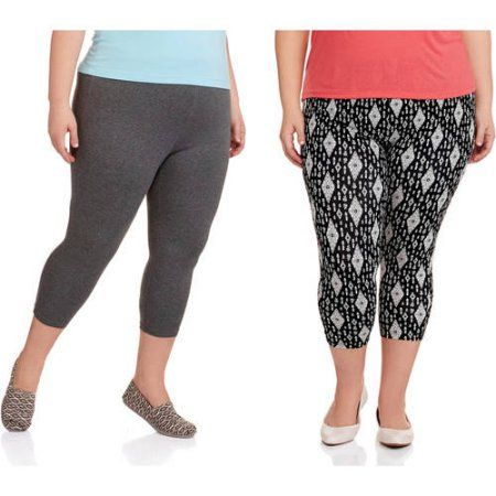 028d65bd1563a Faded Glory Women's Plus-Size Printed Essential Capri Leggings, 2-Pack,  Size: 3XL, Black