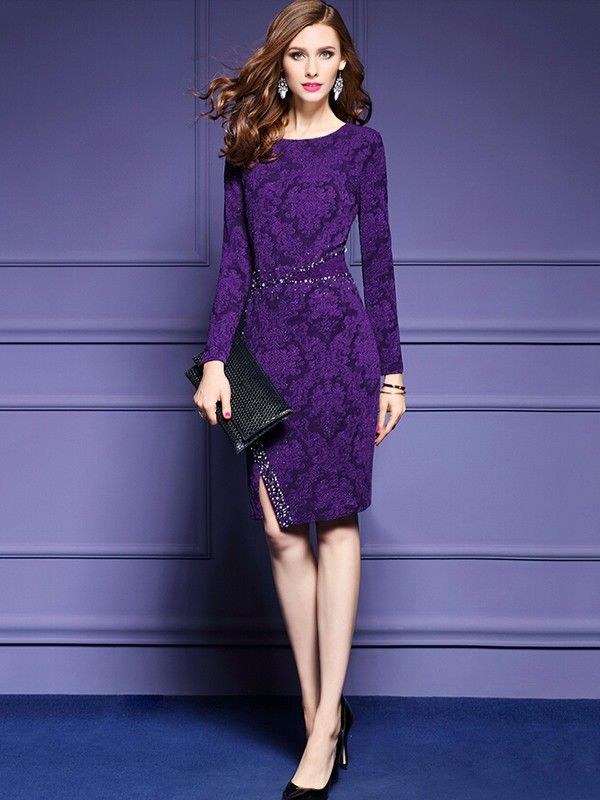 ad] Pair the Purple Heavy Embroided Beady Bodycon with a black ...