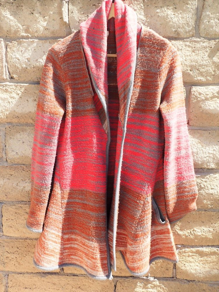 Womens Long Free People Knit Cardigan Sweater M Medium Striped ...