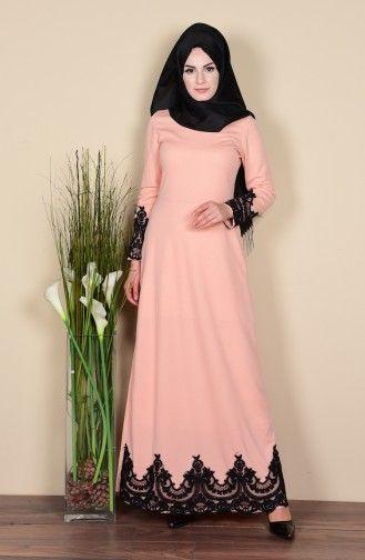 Sefamerve Dantel Detayli Elbise 3013 04 Somon Moda Stilleri Elbise Elbise Modelleri