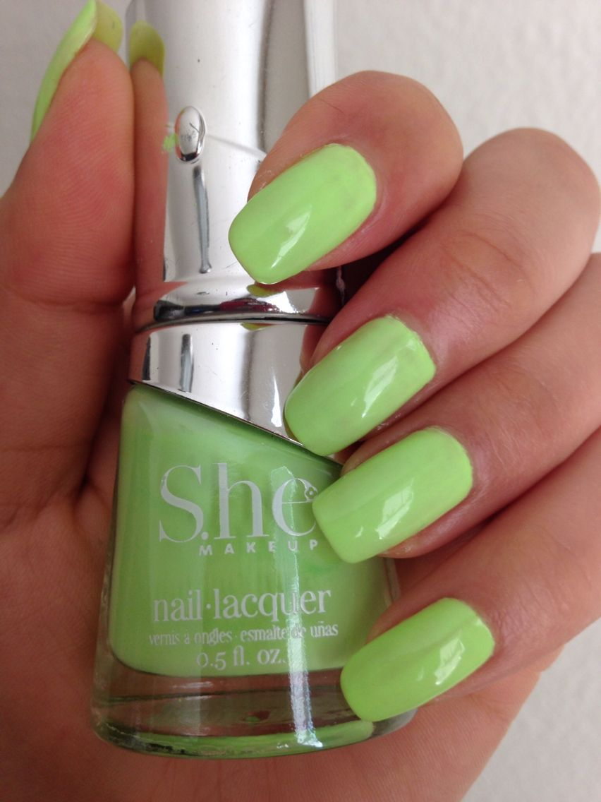 Neon green nails using She makeup nail polish in the color Pastel ...