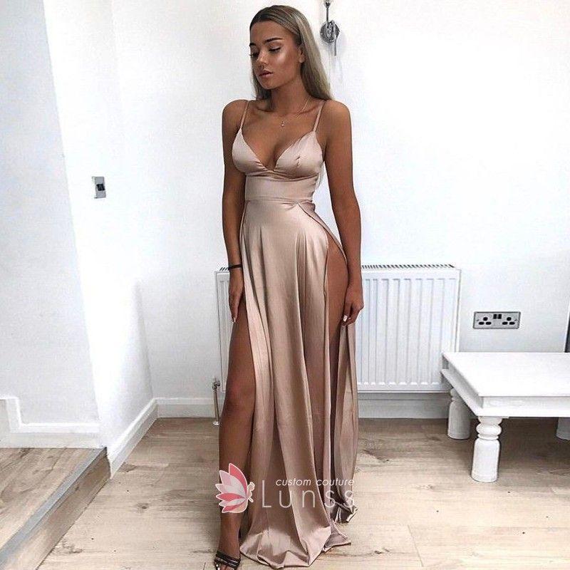 74f8d92b26 Sexy Thigh-high Slit Bronze Brown Satin Deep V Neckline Prom Dress