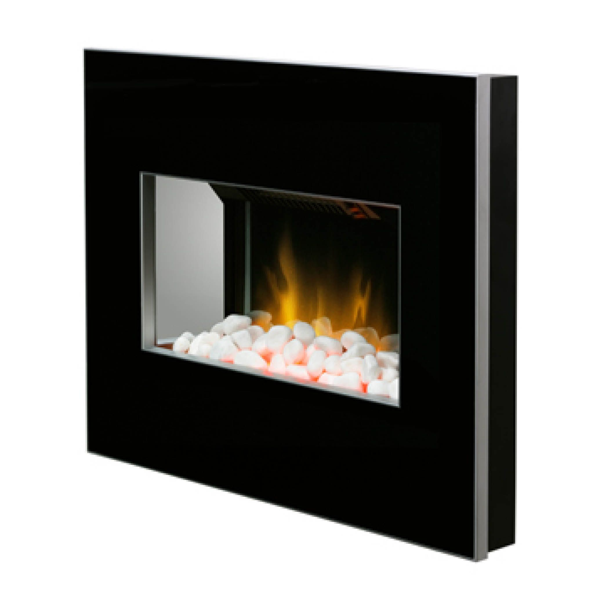 clova black 2kw wall mounted electric fire with optiflame pebble