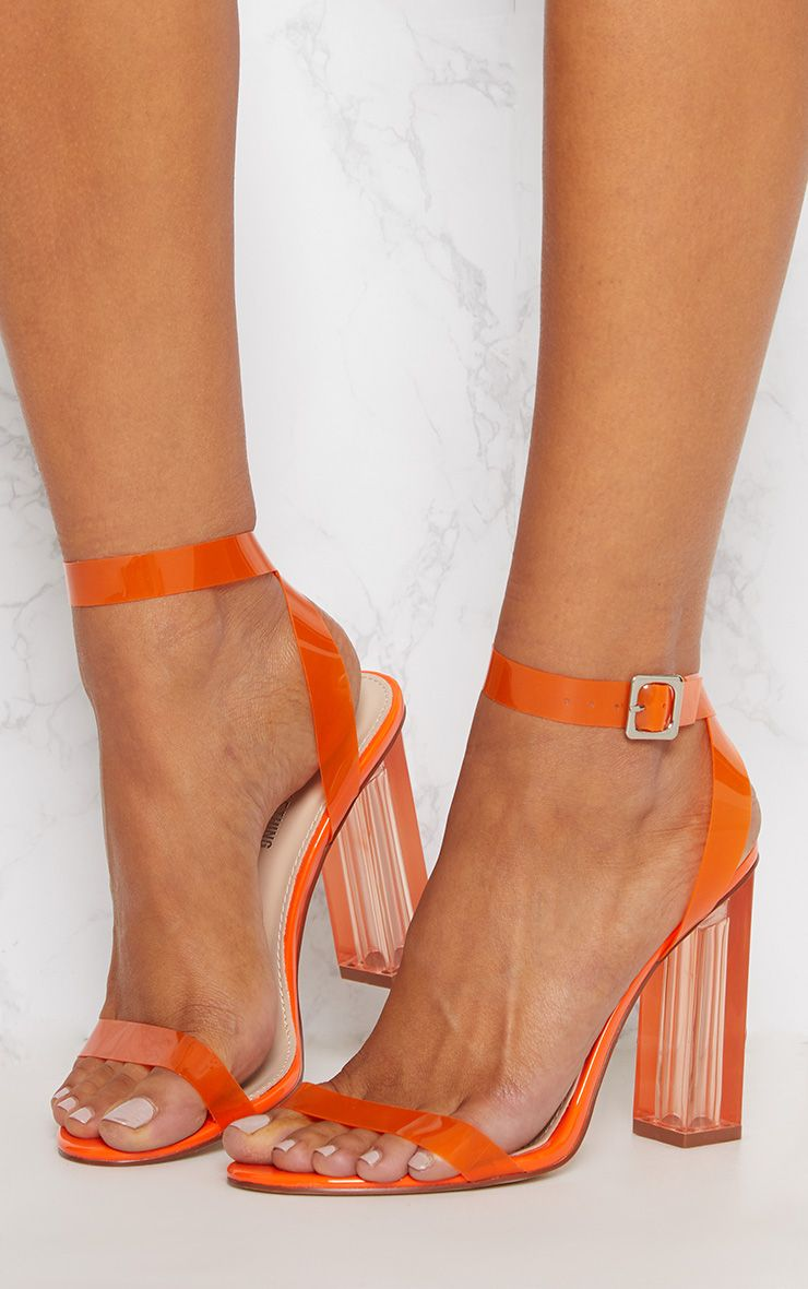 efaafb0cd3a Orange Coloured Clear Strappy Heel in 2019