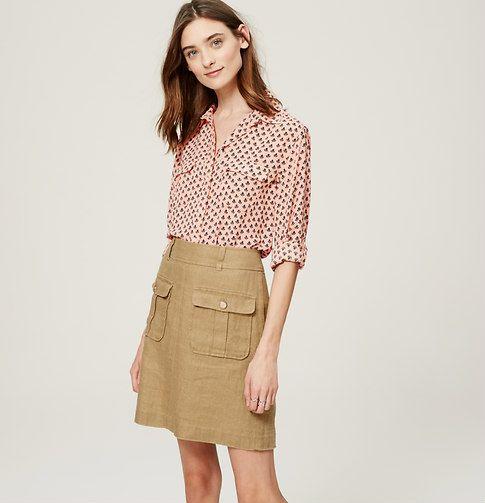 deco utility blouse + linen skirt