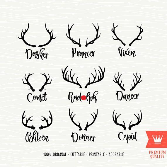 Reindeer Food SVG Cricut Rudolph Nose Cameo Reindeer Antlers Cutting File Cute Font