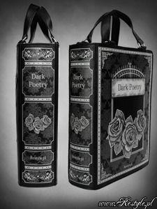"Black BOOK bag ""DARK POETRY"" gothic lolita handbag, roses and gate"