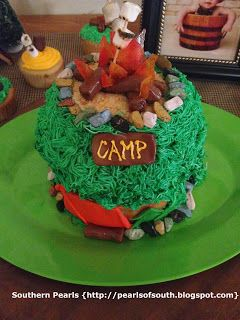 Southern Pearls First Birthday Camp Out Camping Themed Cake