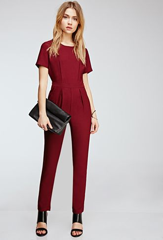 ba8135bfa39c Short Sleeved Crepe Jumpsuit in burgundy. From Forever 21. Love it  it s  sophisticated