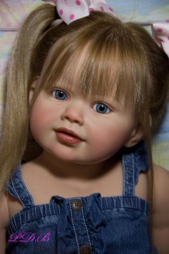 """This is beautiful, it looks so real. Perla Custom Order Toddler Child Doll by Jannie De Lange Baby Girl OOAK 35"""" Tall"""