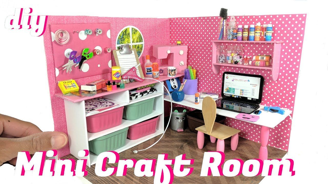 mini doll furniture. DIY Miniature Dollhouse Craft Room \u0026 Supplies - Scissors, Tape, Mini Doll Furniture E
