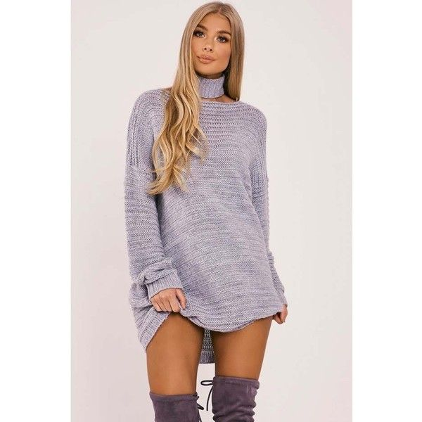 f005d92724bde BILLIE FAIERS GREY OVERSIZED CHOKER KNIT JUMPER DRESS ($42) ❤ liked on  Polyvore featuring dresses, oversized dress, gray knit dress, grey knit  dress, ...