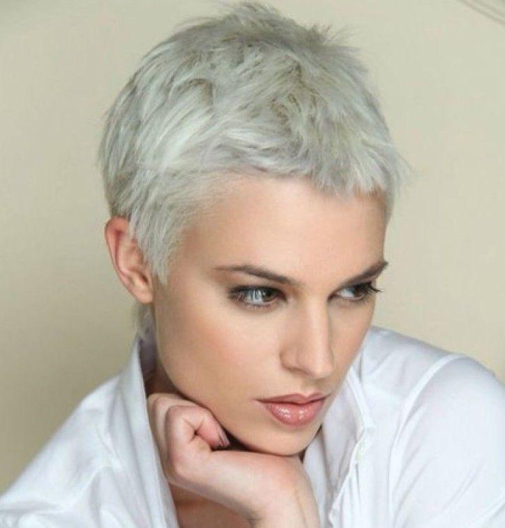 Beyaz Renk Cok Kisa Sac Kalin Saclar Sac Kesimi Pixie Sac Kesimleri