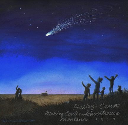"""Halley's Comet over Marias Coulee in 1910,"""" a watercolor by Patricia Schmidt, will be displayed as part of the Splash Art Show held in conjunction with Lake Oswego Reads 2010 at Graham's Book and Stationery, 460 Second St. BY JANET GOETZE"""
