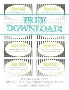 Free Printable Raffle Ticket Template Download Baby Shower Diaper Raffle Free Download  Baby Shower  Pinterest .