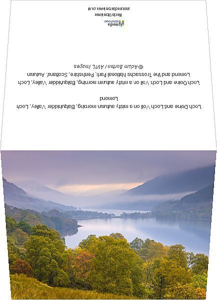 Greetings Card-Loch Doine and Loch Voil on a misty autumn morning, Balquhidder Valley, Loch Lomond-6x8 inch Greetings Card made in the UK
