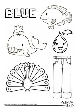 Blue Things Colouring Page | Children: Toddler | Pinterest | Blue ...