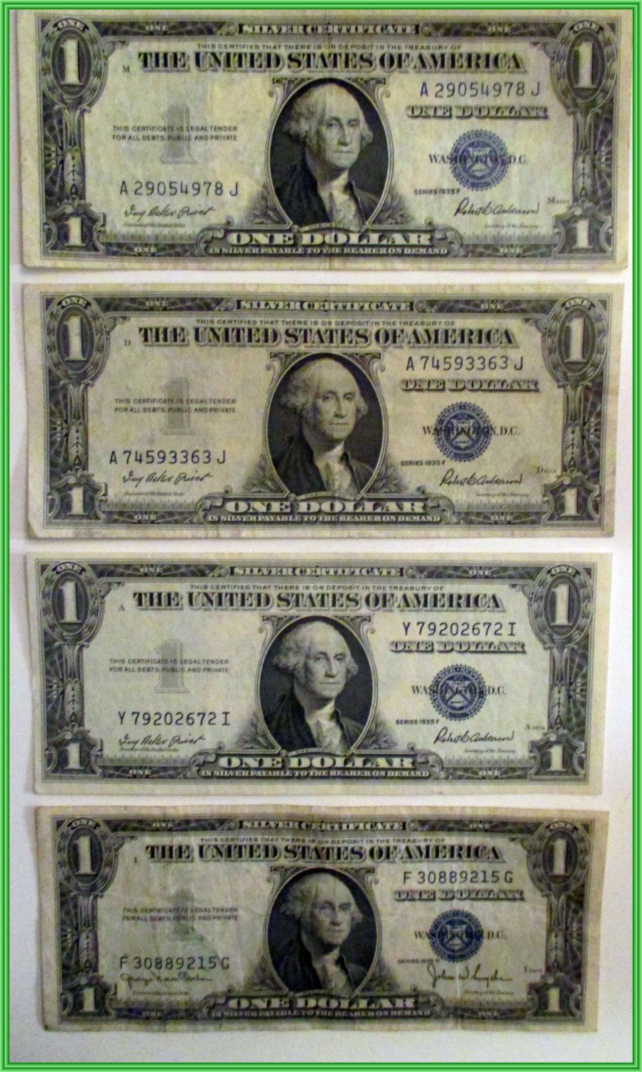 U S One Dollar Silver Certificates With No In God We Trust Set