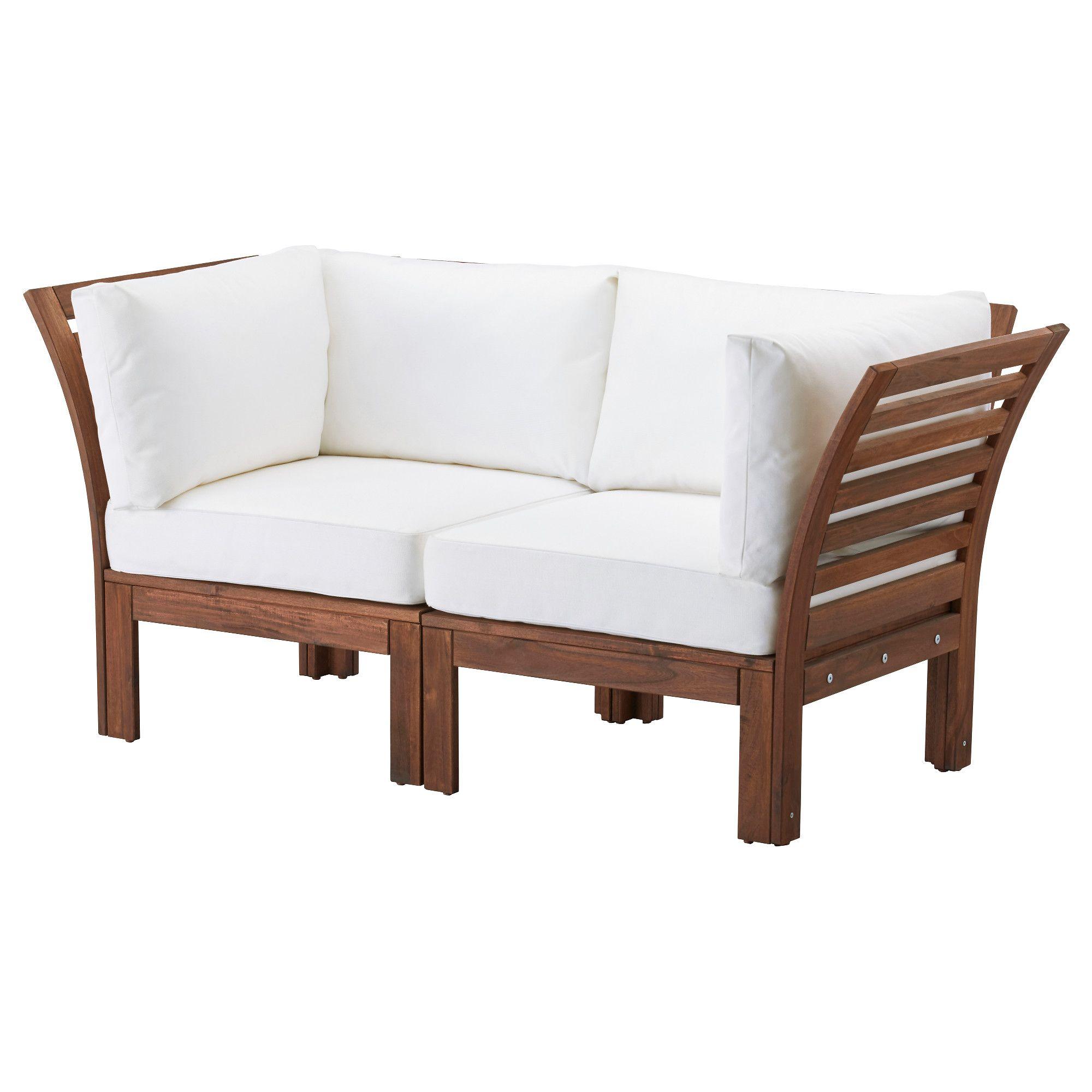 ÄPPLARÖ Loveseat, outdoor, brown stained, white Kungsö white ...