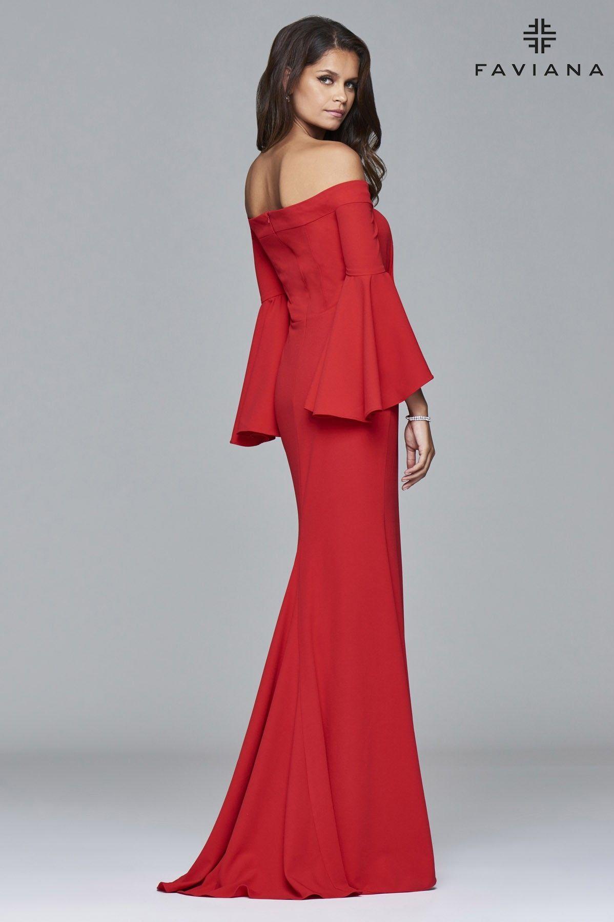 34739142075 Red long off-the-shoulder crepe dress