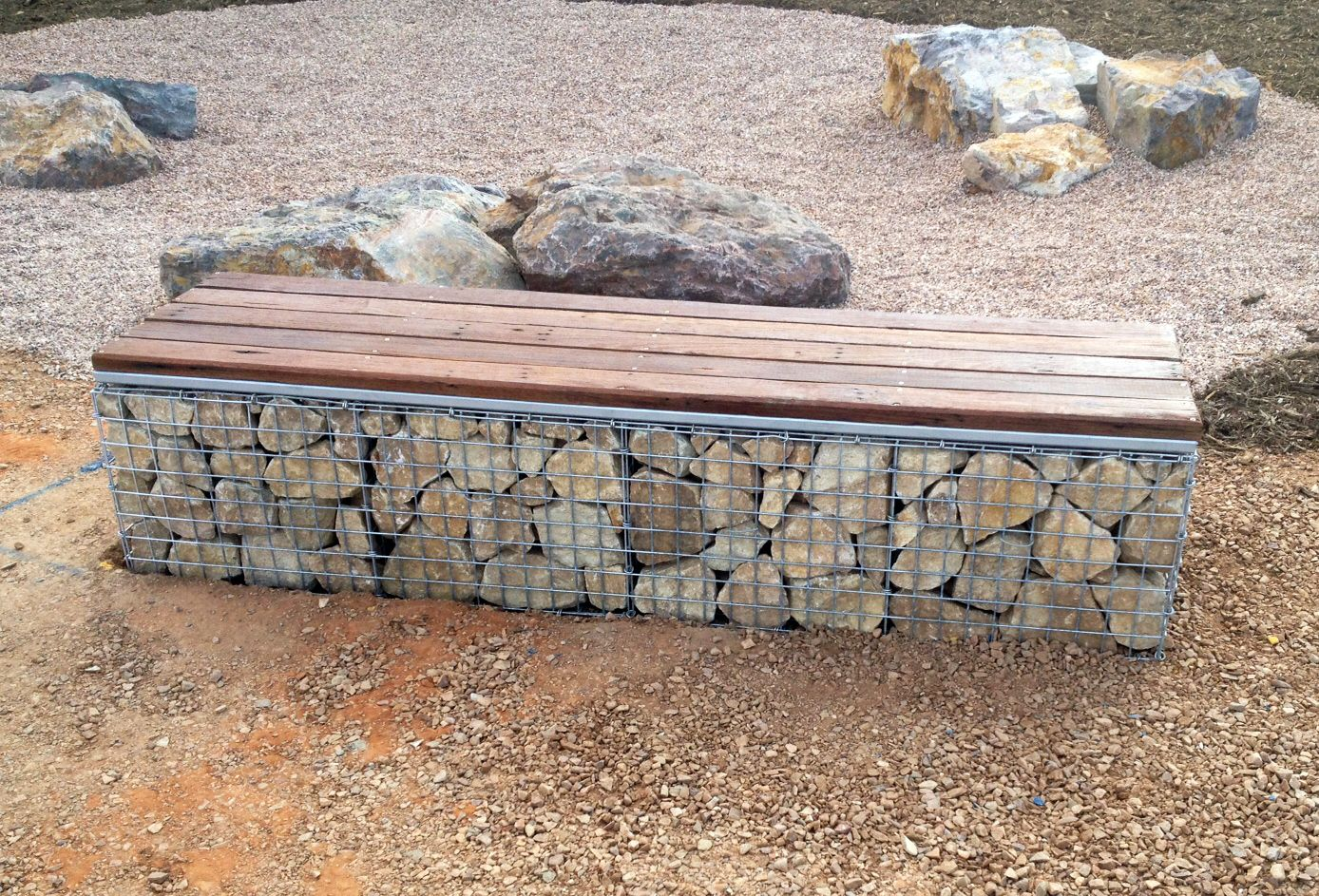 A Recycled Jarra And Gabion Seat Installed By Prospect
