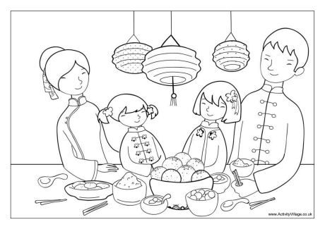 Chinese New Year Dinner Colouring Page New Year Coloring Pages