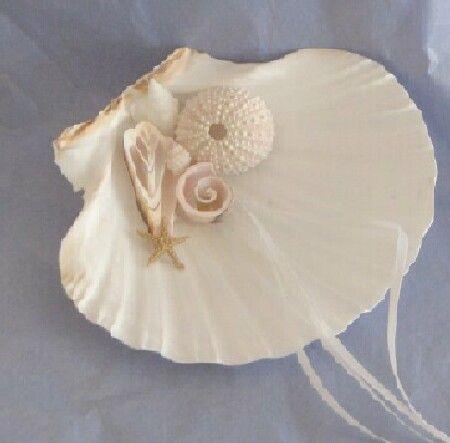Beach Wedding Seashell Ring Pillow shell ring bearer bridal